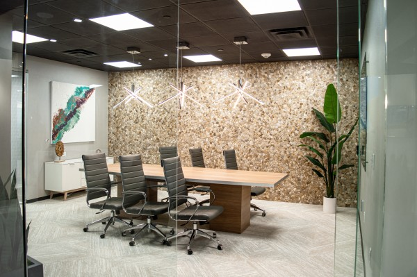 Six person conference room with modern decor