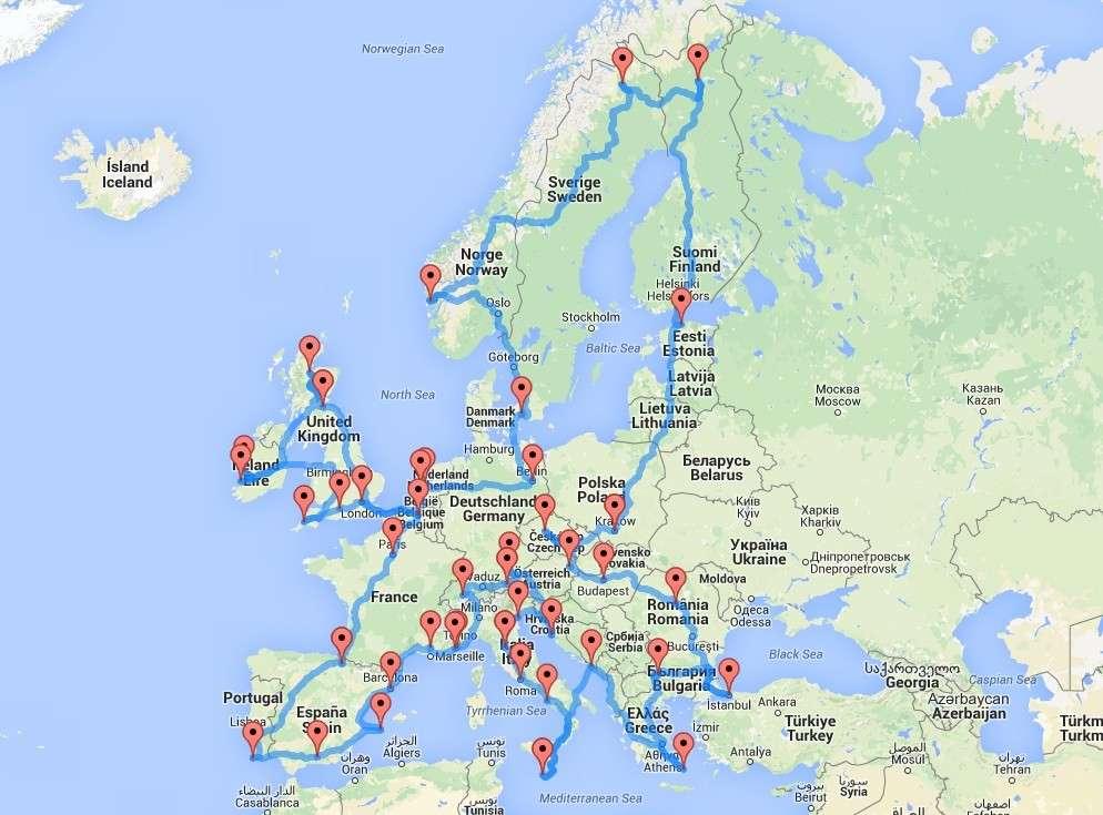 La mejor ruta para recorrer Europa en coche