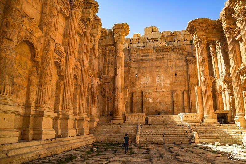La grandeza de las ruinas romanas de Baalbek, Libano