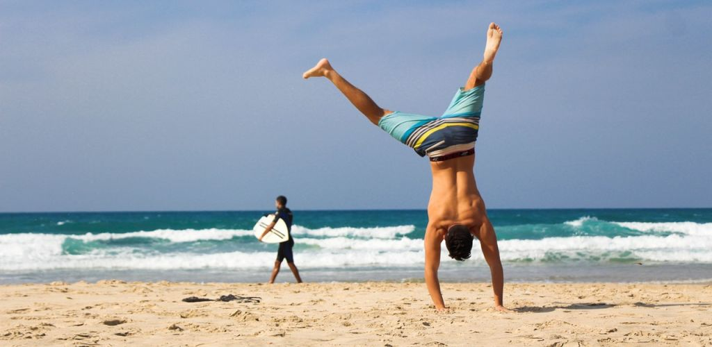 man enjoying the beach