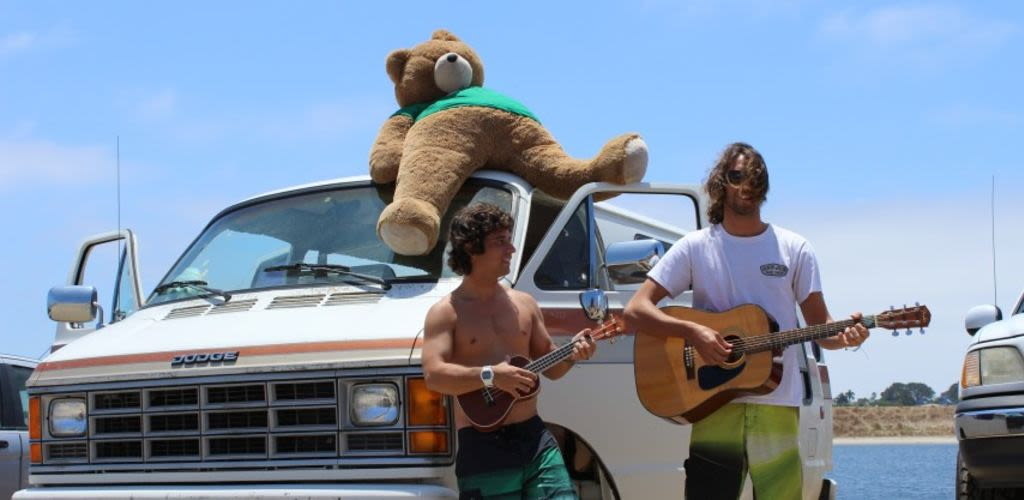 Riq Lima and Eric Faria, Worldpackers co-founders in their campervan in California