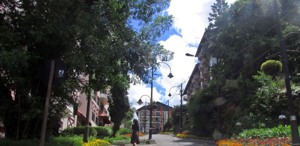 voluntária caminhando por ruas da cidade