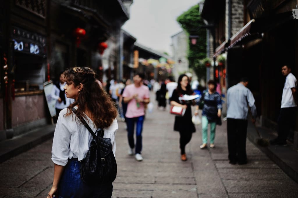 woman walking around the city