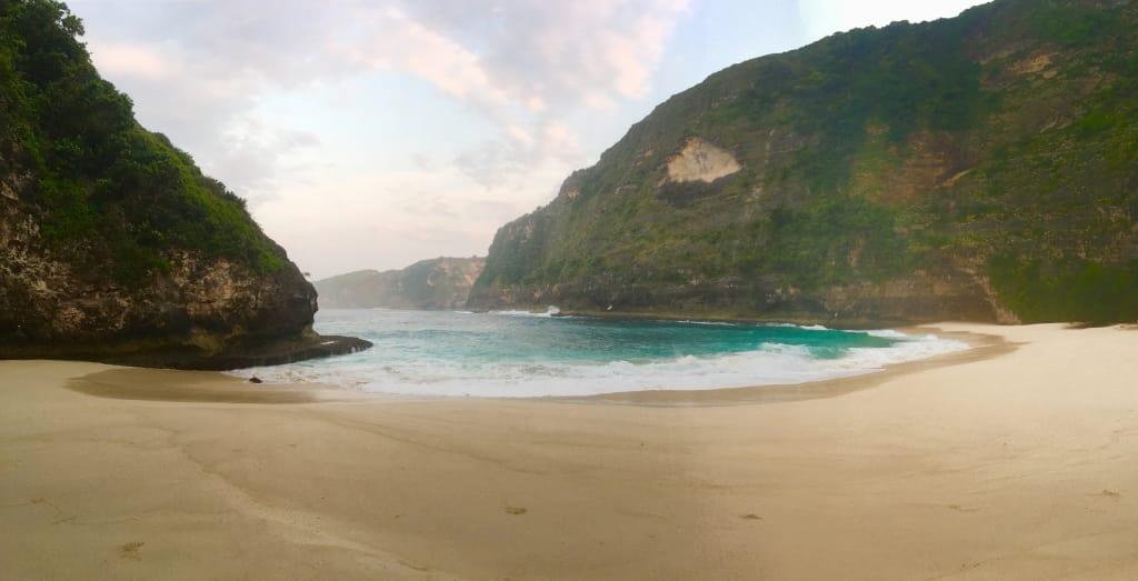 vista da praia ao acordar