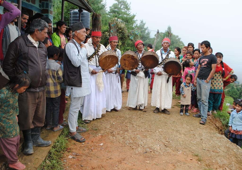 local celebration at Nepalese eco village