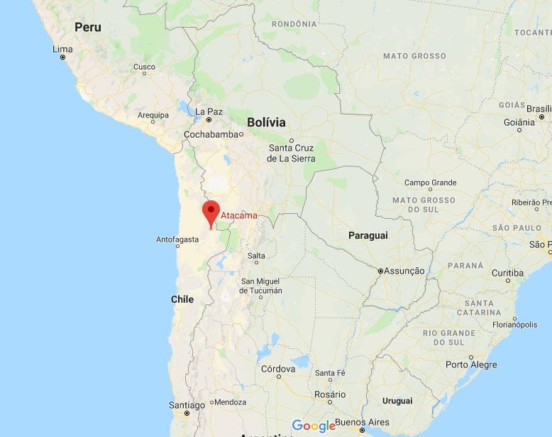 Atacama - Norte do Chile / Imagem: Google Maps