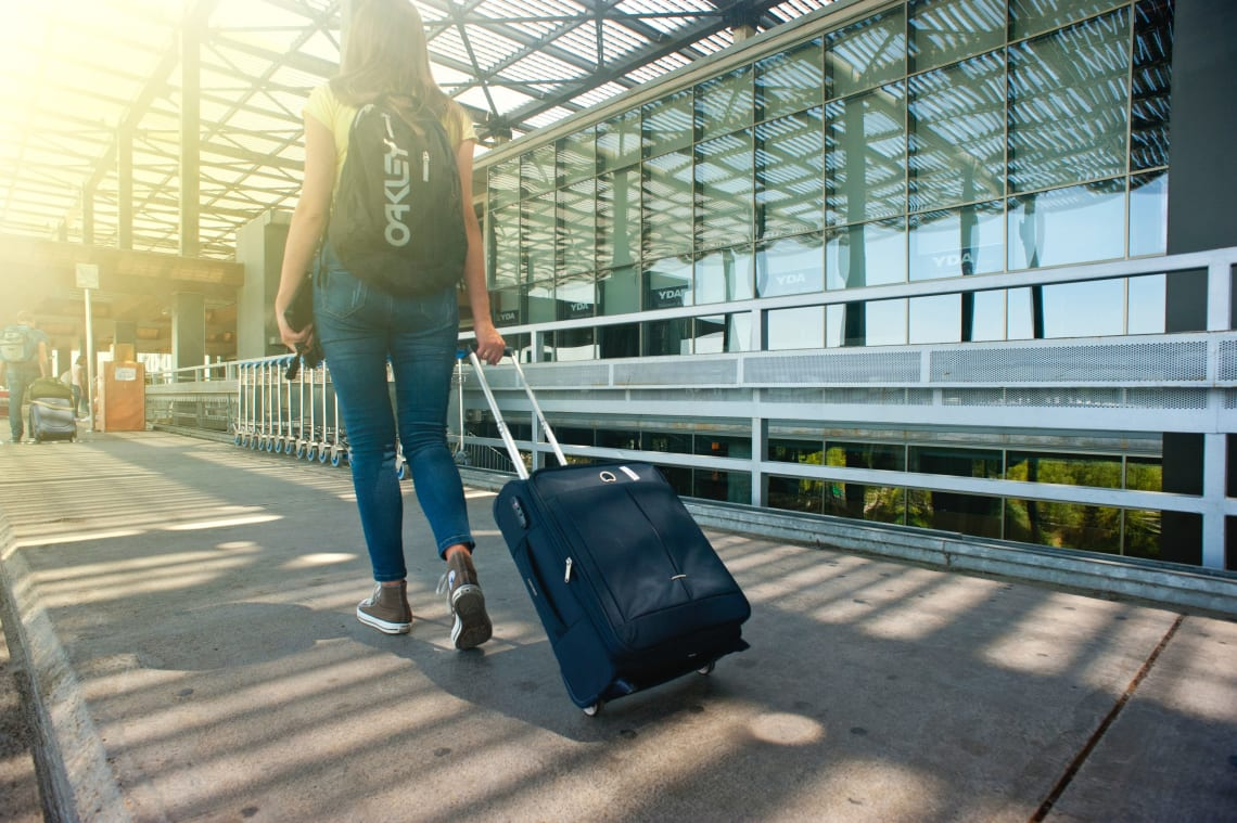Solo female traveler taking off for the first time