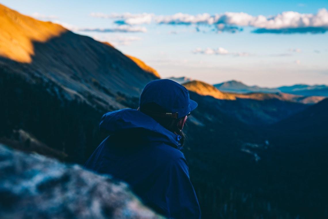 Solo traveler enjoying a mountain view, Colorado, United States