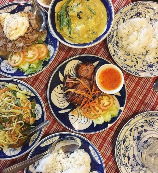 Pratos da comida asiática para provar: comida do Cambodja