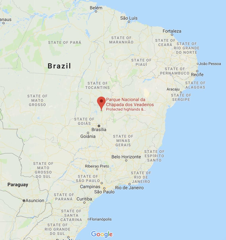 Localização da Chapada dos Veadeiros no mapa