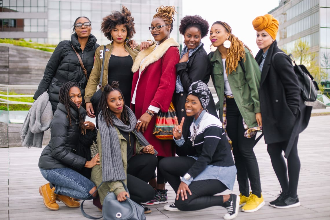 Beautiful black female travelers