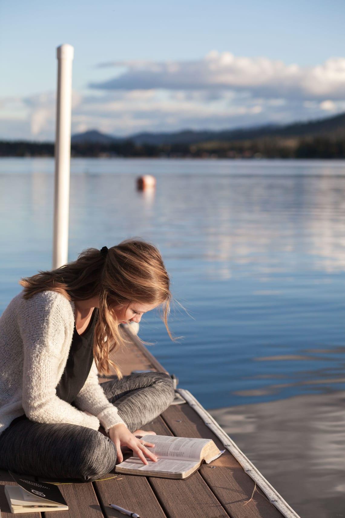 Studying lakeside