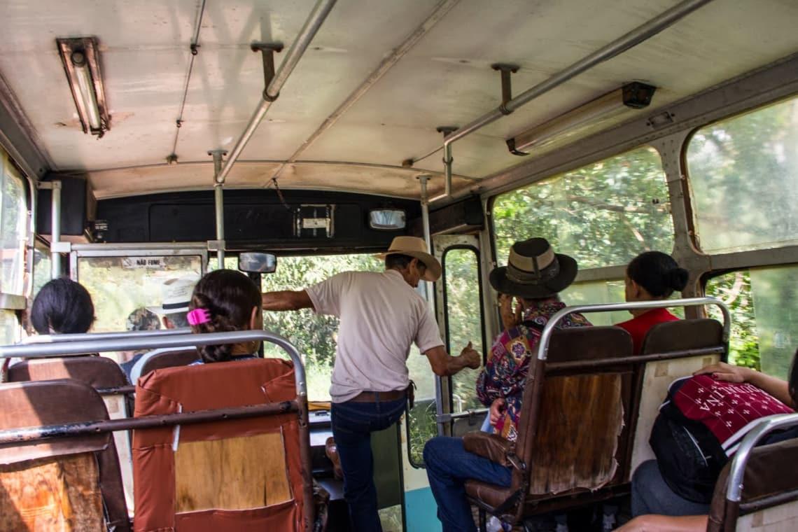 ônibus durante o trajeto até Baependi