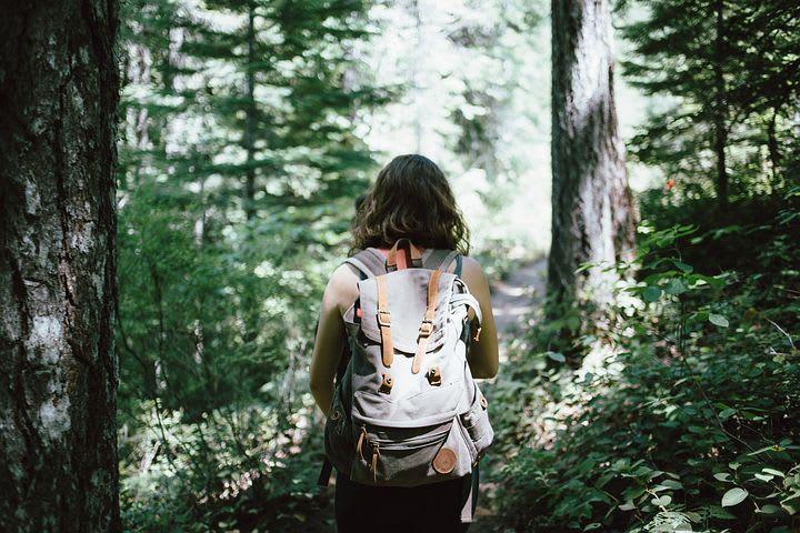 Cómo elegir una mochila de viaje - Worldpackers - mochilera caminando por el bosque