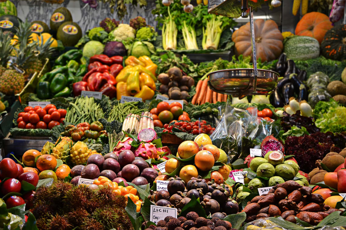 Fruits and vegetables at a local market