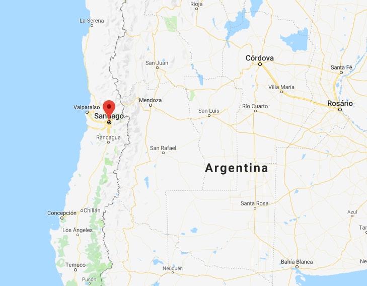 Santiago e Valparaíso / Imagem: Google Maps