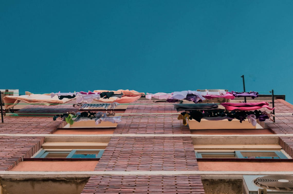 Laundry drying, Madrid, Spain