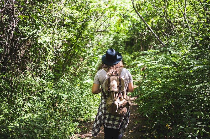 Female adventurer walking in the woods