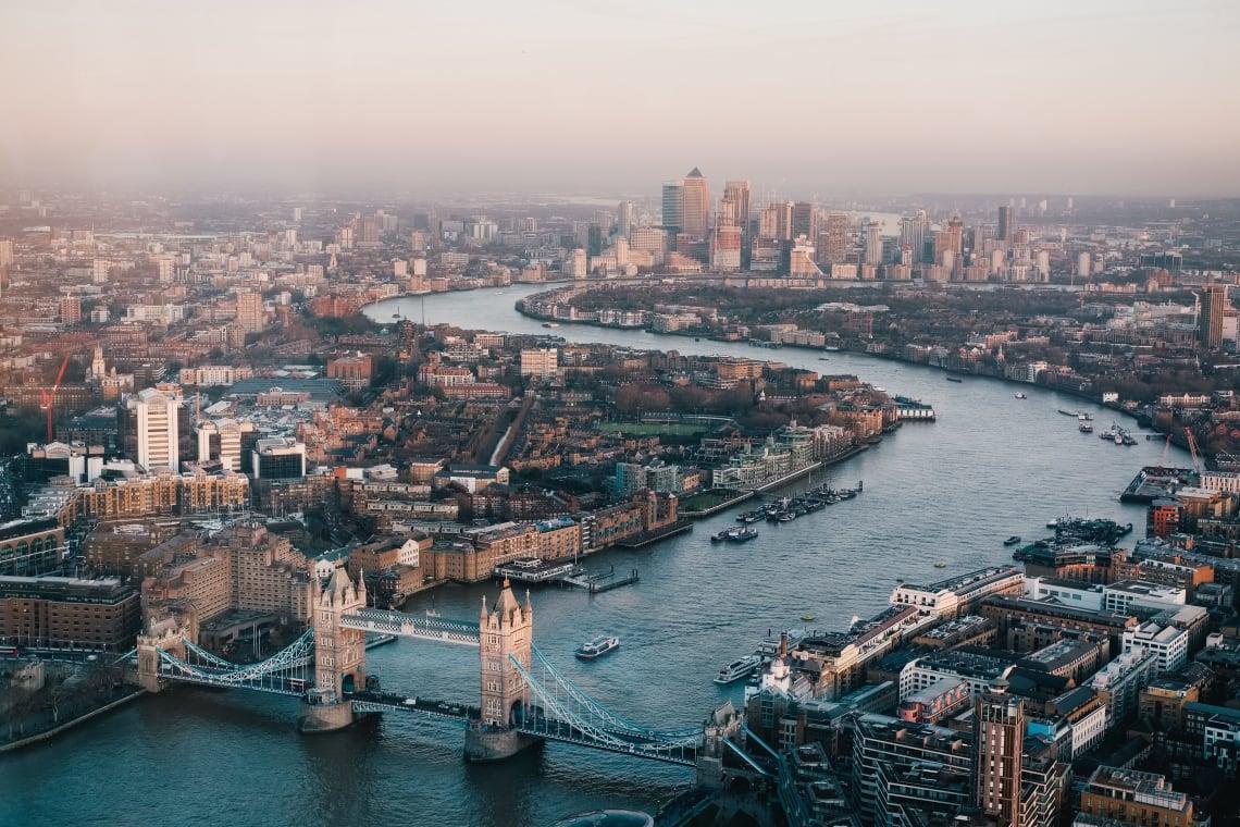 Aerial view of London, United Kingdom
