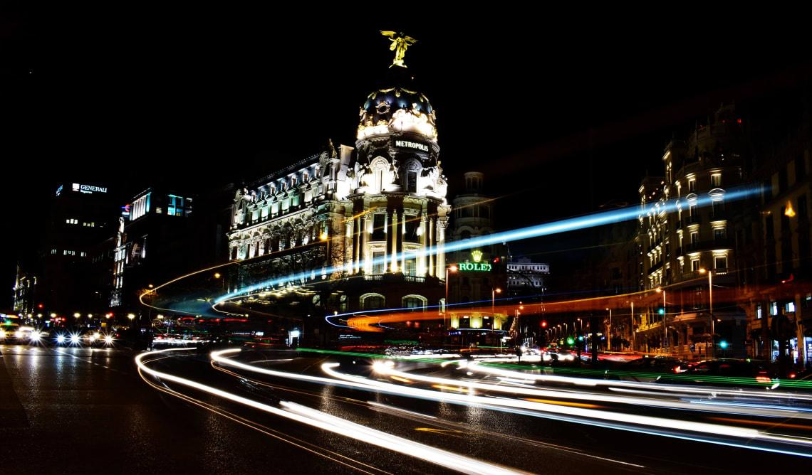 Madrid at night, Spain