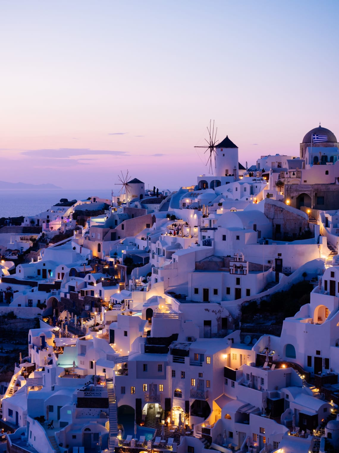 Oia, Greece at night