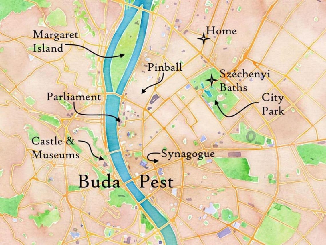 Mapa Buda y pest
