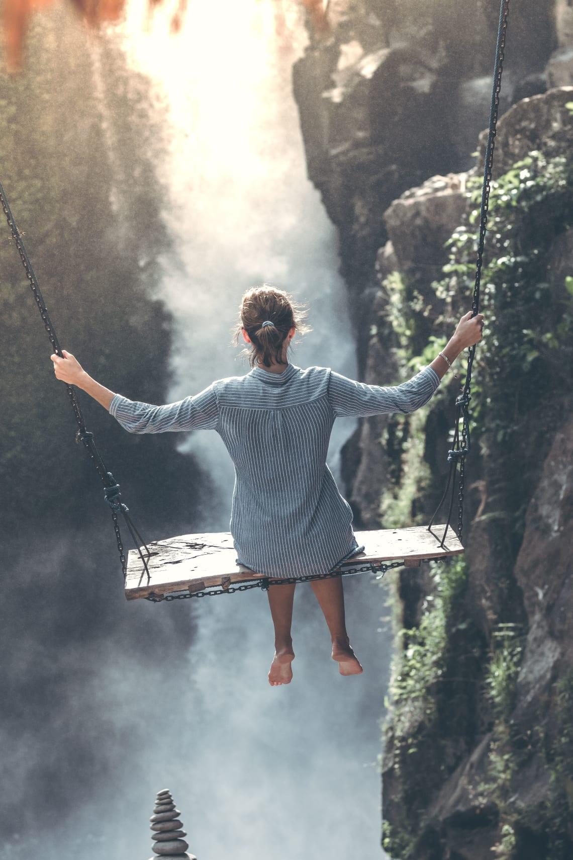 Solo female traveler enjoying a stunning view