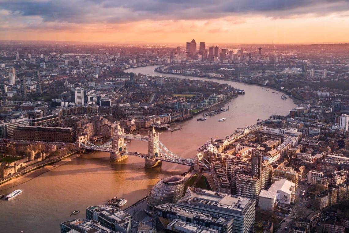 Aerial views of London, United Kingdom