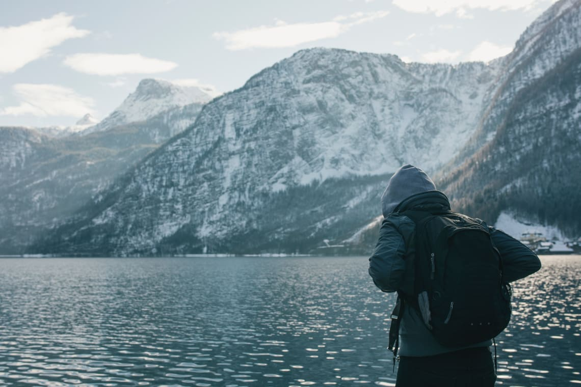 Traveler, Snowy Mountains, Austria