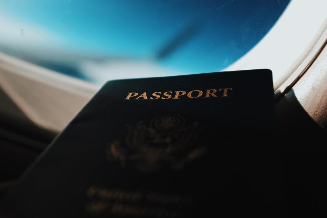 Travel passport and airplane views