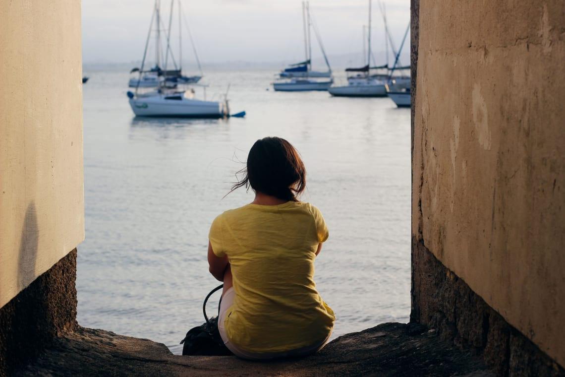 Solo female traveler relaxing in Florianopolis, Brazil