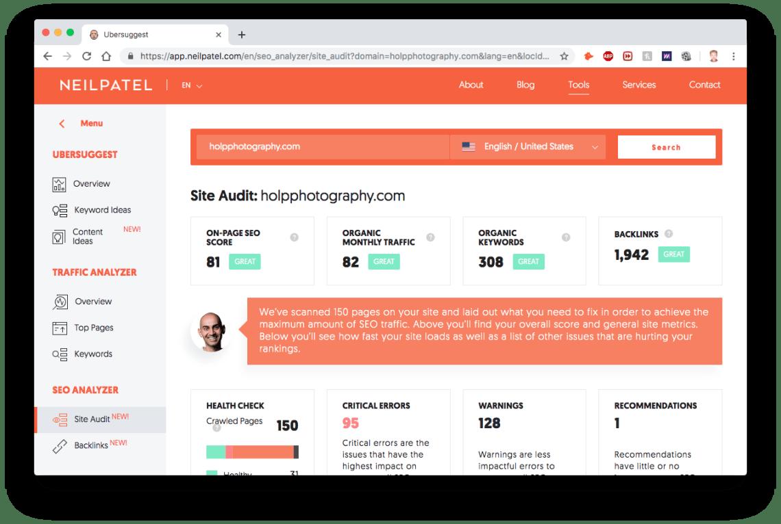 Free Audit Report and SEO Analyzer, NeilPatel