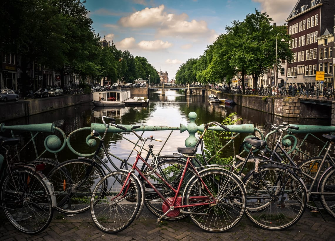 Bicycles by a canal, Amsterdam, Netherlands