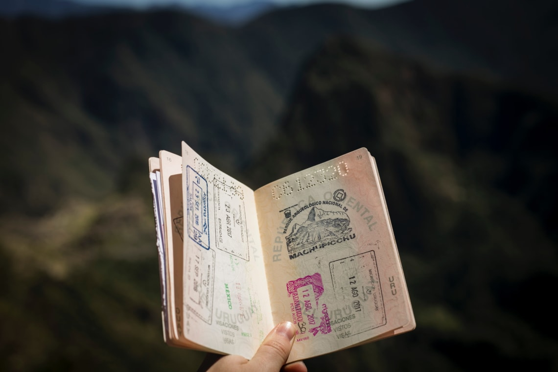 Passport filled with passport stamps