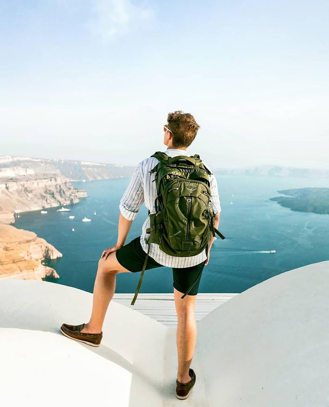 Traveler on sabbatical enjoying beautiful coastal views