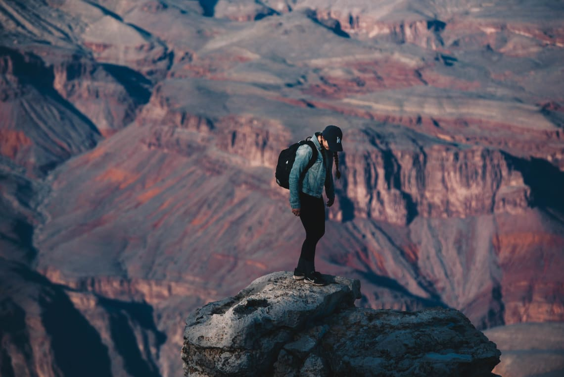 Solo female traveler, Grand Canyon, United States