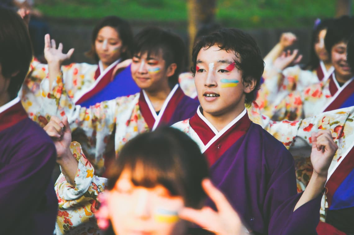 young people from Japan during local dance festival