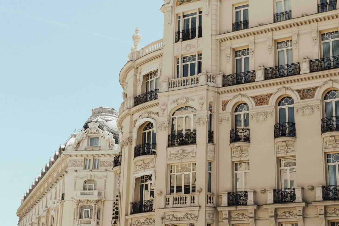 Beautiful building facade, Madrid, Spain