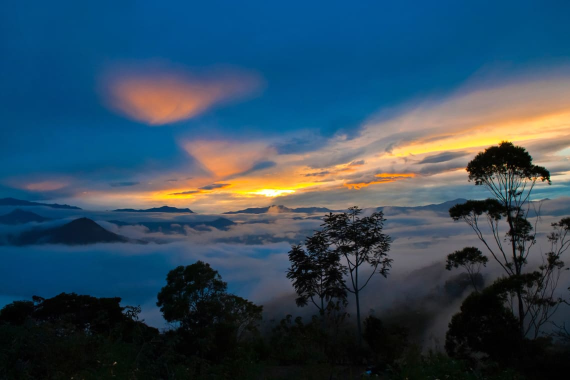 Sunset over mountain range, Colombia