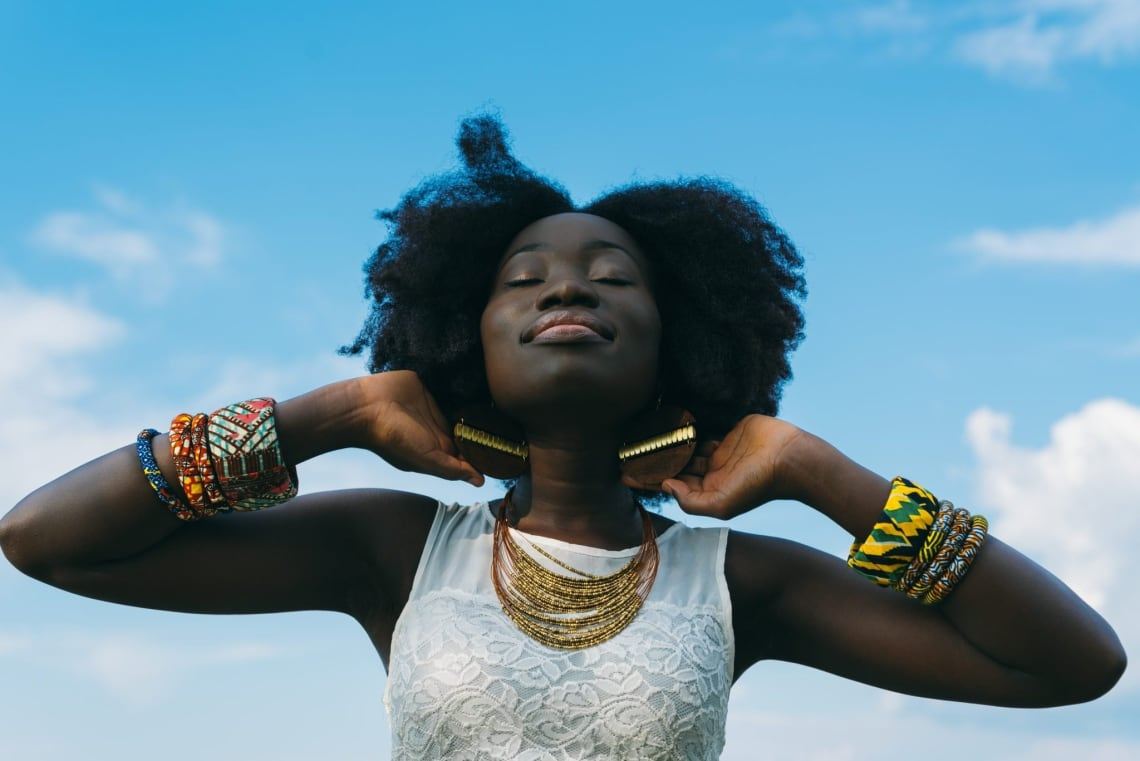 Beautiful black woman showing off her amazing style