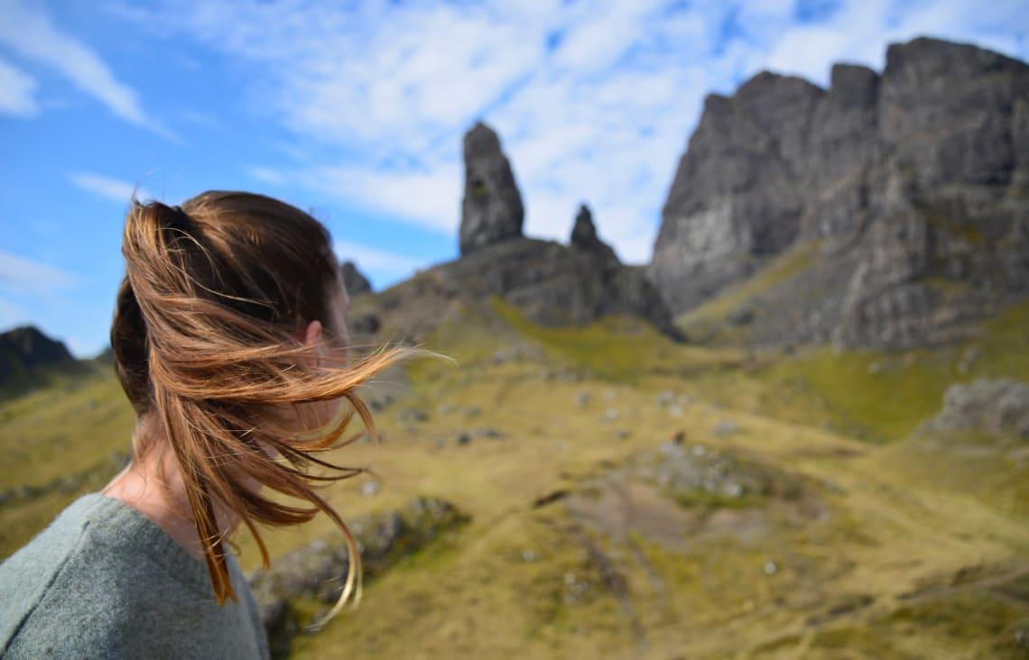 Solo female traveler outdoors