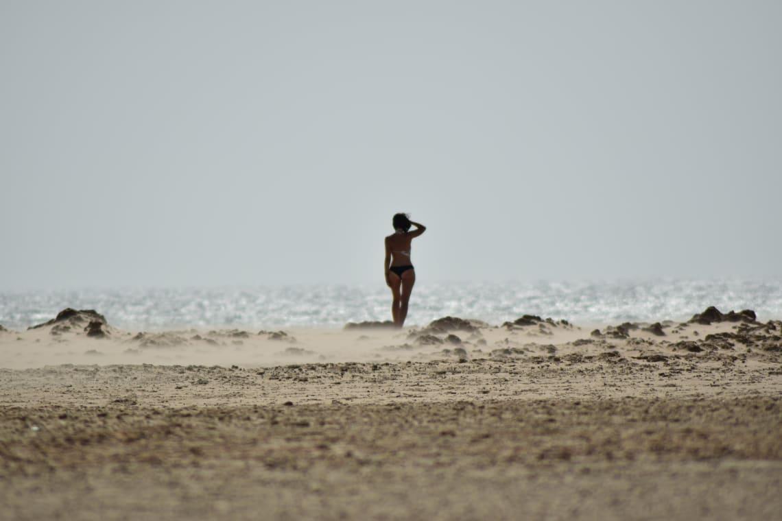 Woman on the beach, Tarifa, Spain