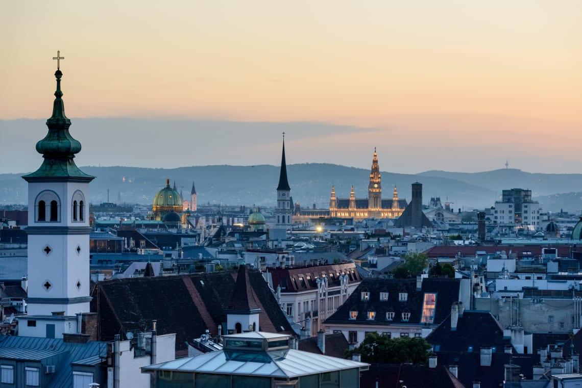 Vista aérea da cidade de Viena