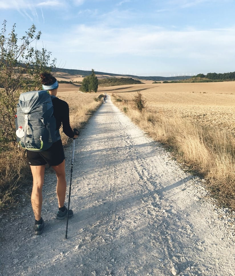 Solo female traveler hiking the Camino de Santiago