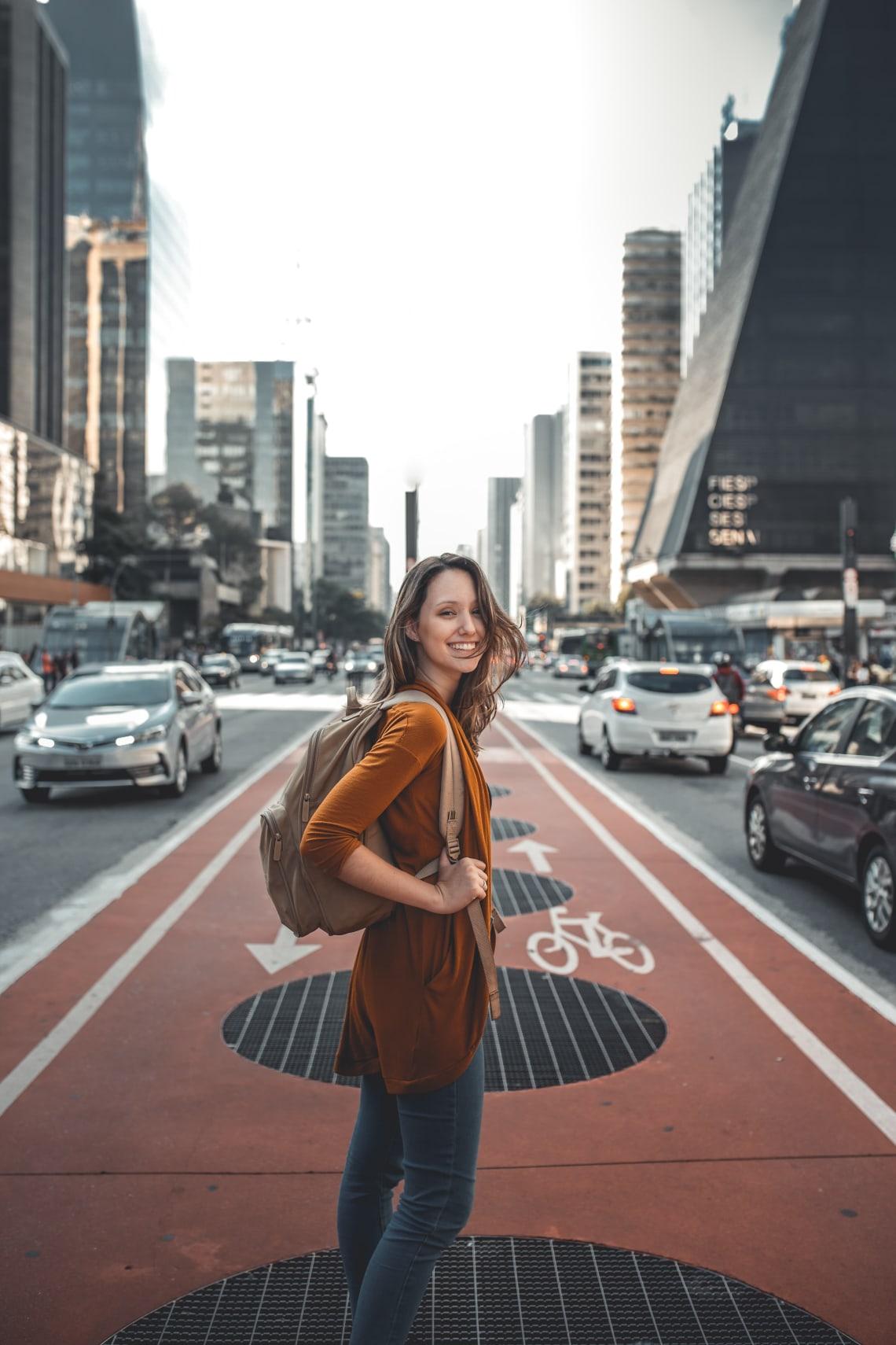 Solo female traveler exploring a new city