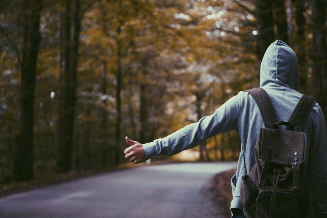 Solo traveler hitchhiking on a forest road