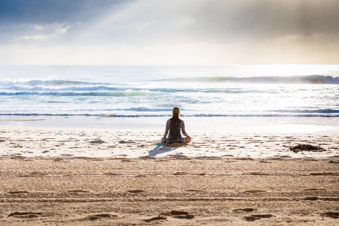 Meditating traveler