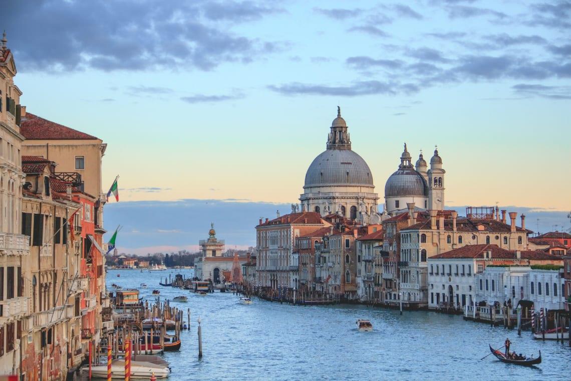 Dorsoduro at sunset, Venice, Italy, Europe