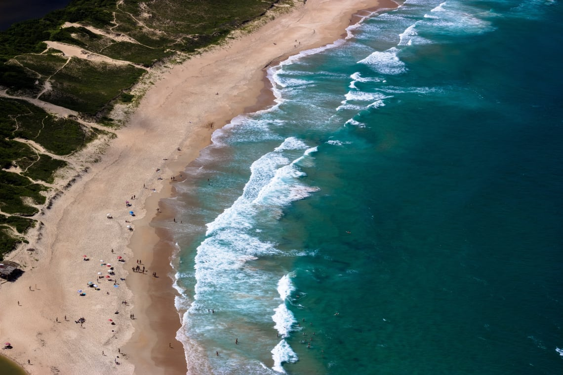 Aerial view of a beach in Florianopolis, Brazil