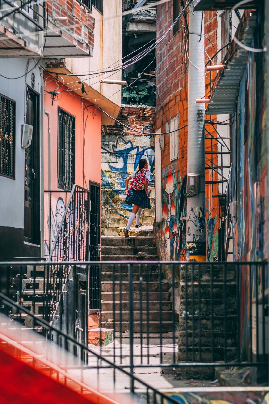 Colorful alleys, Medellin, Colombia